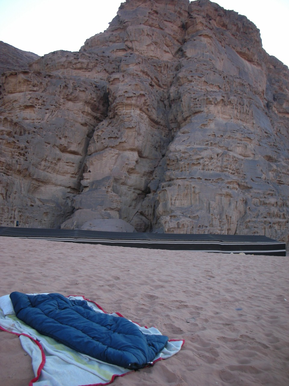 "My sleeping spot, and ""our"" mountain. I wish we could have climbed it!"