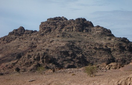 It may look close from here, but the large Wadi in the middle meant that we were still 2 hours away.
