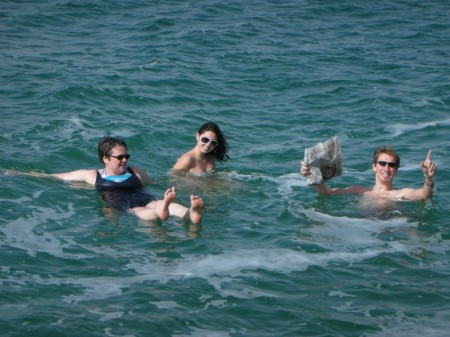 Anne, Tara, and myself go for a float in the Dead Sea
