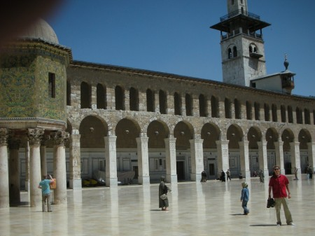The huge white courtyard of the Umayyad, plus Silas' finger