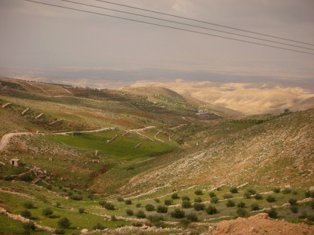 On the other side of Wadi Seer, stone walls line the hills as Palestine stretches away into the horizon