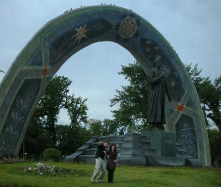 Farahnush, Malik and myself stopped by a garden to pose with Rudaki, a famous Persian/Tajiki poet