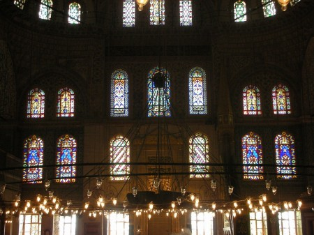 Glowing fairy-globes and intricately-cut stained glass windows crown the masterpiece that is the Sultanahmet