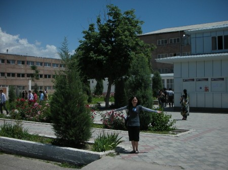 Farahnush shows off the main courtyard for her school, the Tajikistan University of Technology (TUT)