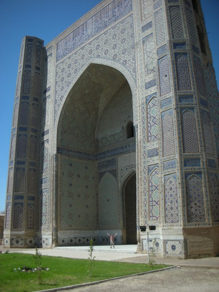 I'm nothing but a dot compared with the sheer massiveness of the Grand Mosque of Samarqand