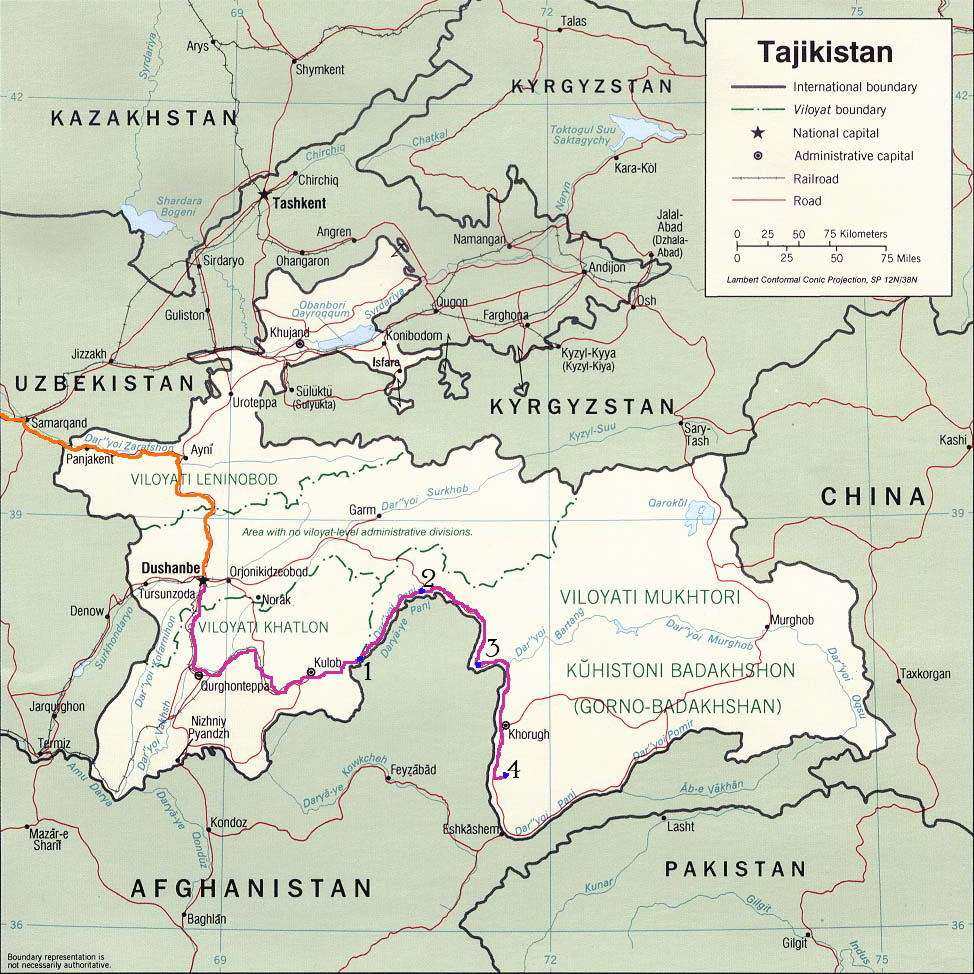 Tajikistan Route Map