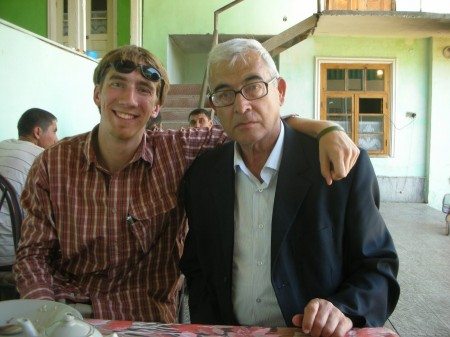 Akbar and I after eating our plov/pilaf/osh lunch. He's not unhappy; he just always has a concerned look on his face.