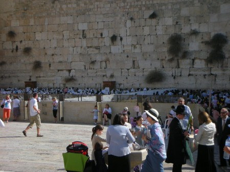 Jews praying along the Western Wall