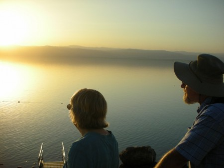 Enjoying the sunset at the edge of the Dead Sea