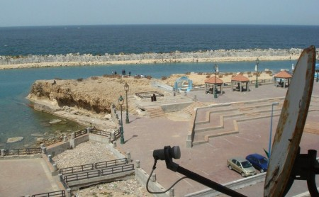 """View from our balcony. The small square is the apparently well-known """"Beer Ma-Sa'oud"""""""