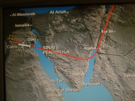 You're not going to believe this but yes, we did have to take this ridiculous roundabout detour around Israel instead of just flying in a straight line to Cairo