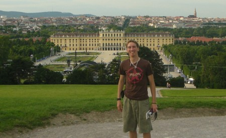 Standing on the hill behind the Schönbrunn Palace and concert stage on the first evening