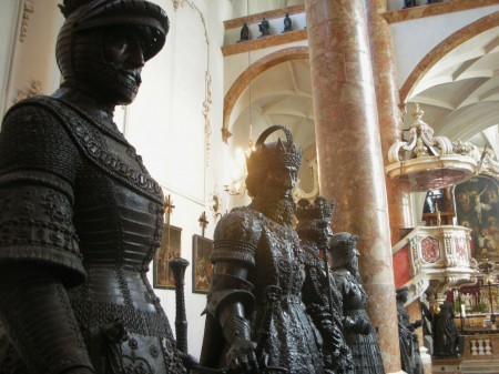 The left bank of bronze statues in the Hofkirche, looking towards the alter