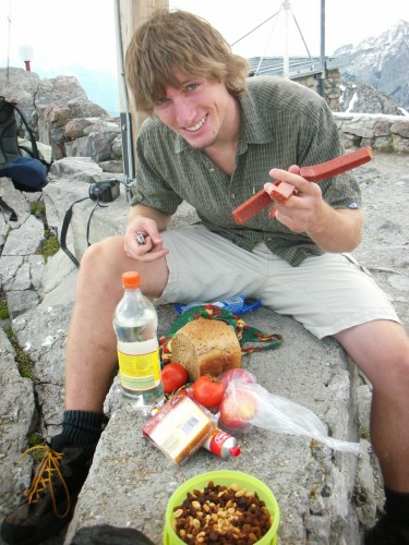 Captain Jerky Fingers shows off the mountain lunch spread