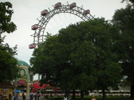 The Prater's eldest attraction rises above the garish entry gate
