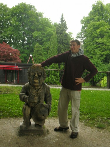 "The well-worn head of this dwarf in the Mirabell Gardens is the one the Von Trapp kids marched past in the ""Do Re Mi"" song, patting him on the head"