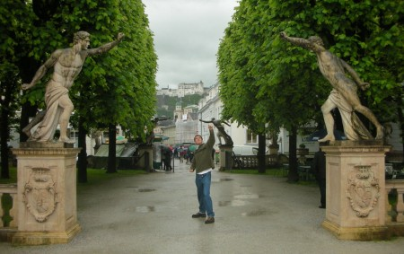 Salzburg! In the Mirabell Gardens from the Sound of Music, with the Hohensalzburg fortress behind