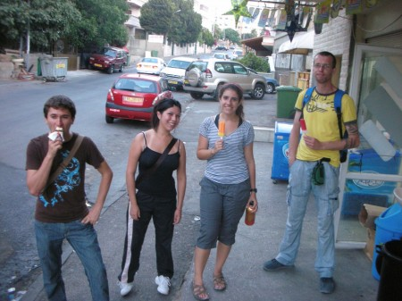 We stopped for 1-shekel popsicles at the top of the hill, which in the heat and humidity, seemed to end up more on my hands and face than anything else