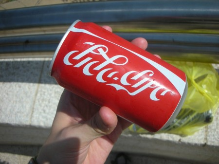 A picture of a can from last month's trip to Nazareth. And I thought the Arabic script of كوكا كولا was hard to read!