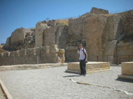 I'm standing on the remains of the south-western guard tower, with the walls of the High Court behind me